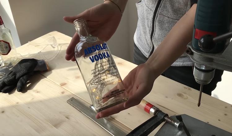 DIY Flaschenlampe mit Lichterkette