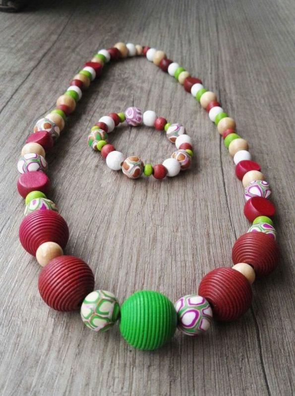 Fimo Ketten Set Rotgrün