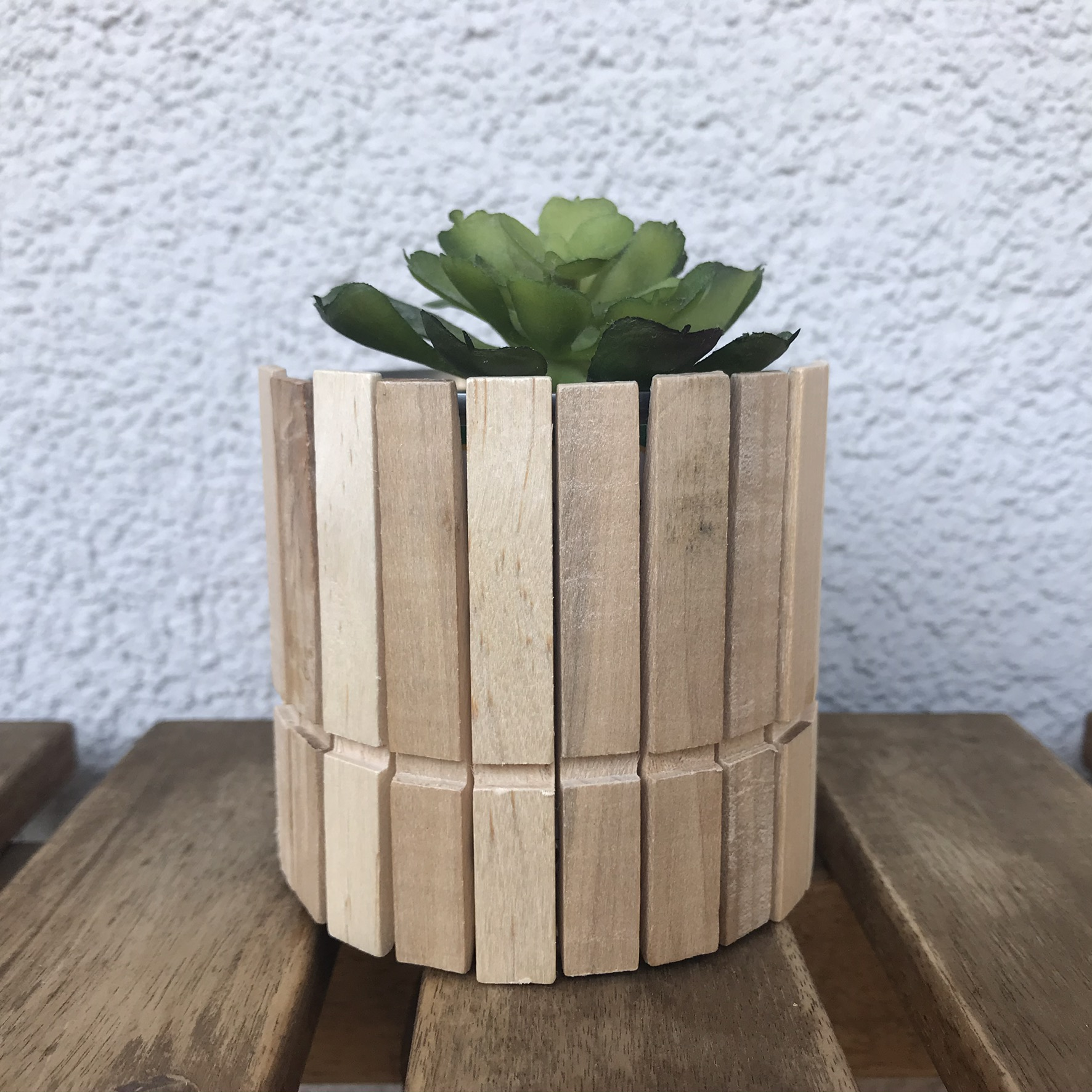 Blumentopf Holzklammern