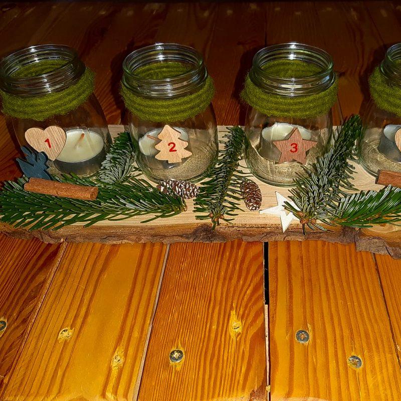 Adventskranz Kerzen im Glas